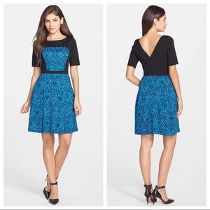 TRACY REESE Eve Print Ponte Fit & Flare Dress blue
